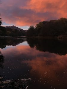 cloudy pink sunset on the Kern River Sierra South Mountain Sports Kern River California