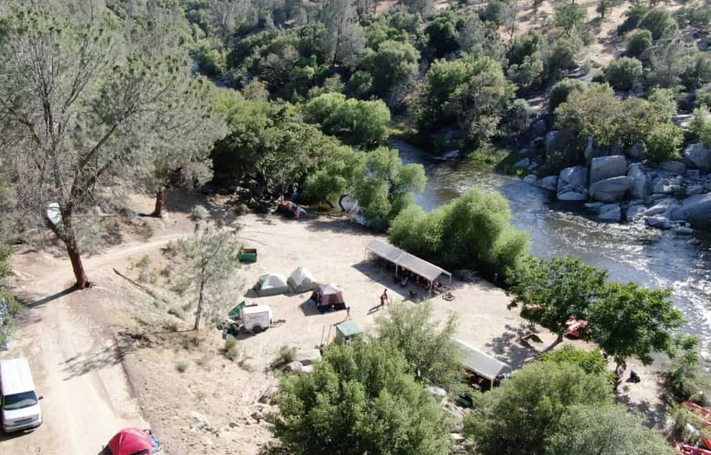 camping grounds from aerial view during the day Sierra South Mountain Sports Kern River California