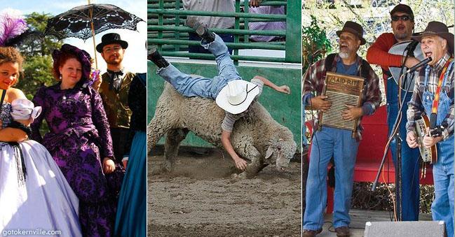 three photo grouping of Whiskey Flat Fall Festival Sierra South Mountain Sports Kern River California